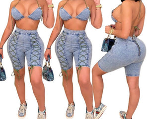Women Halter Denim Two Piece Sexy Fashion Short Set