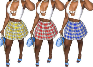 Women Plaid Two Piece Sleeveless Crop Skirt Set