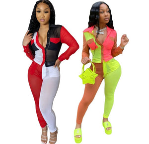 Women Sexy Sheer Color Patchwork Two Piece Pant Set