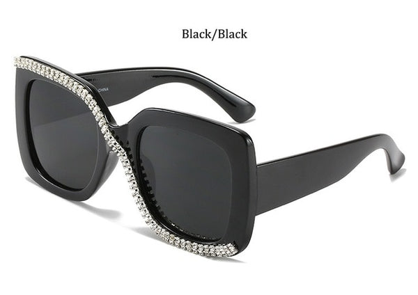 Women Fashion Rhinestone Square Oversized Sunglasses