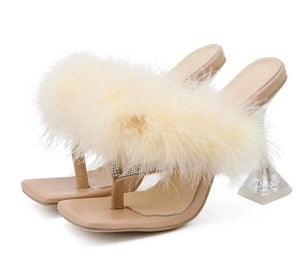 Women Fashion Rhinestone Fur High Heel Sandals