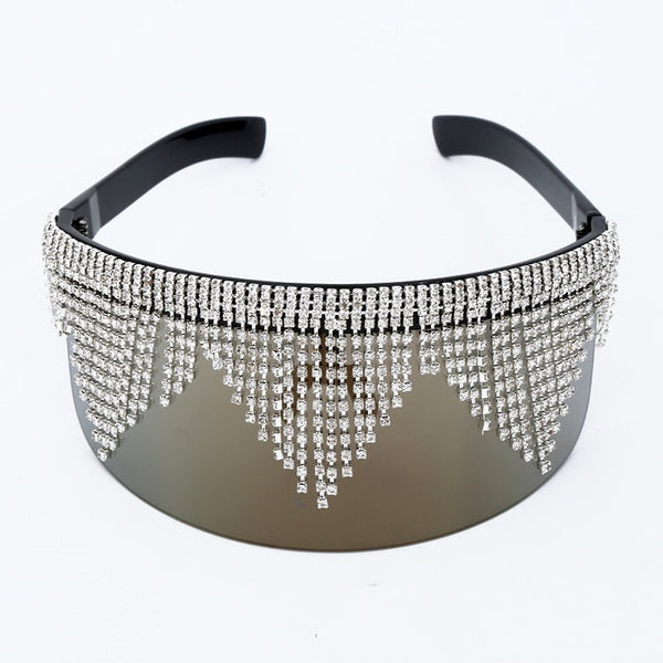 Vintage Rhinestone Big Frame Mask Fashion Sunglasses