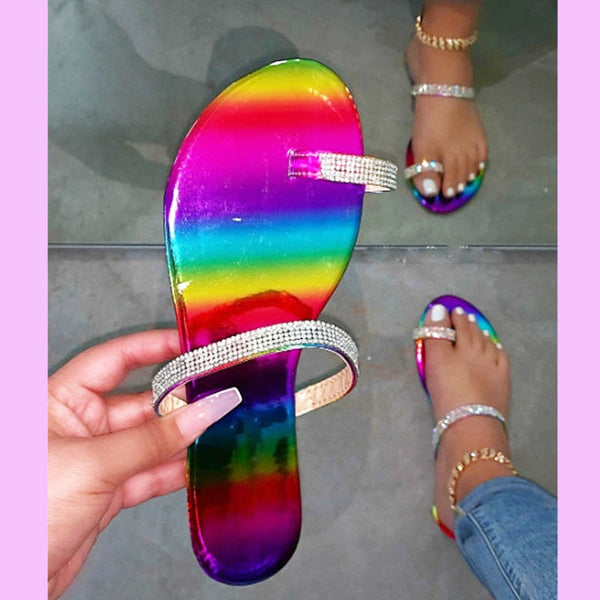 Women Fashion Multi-Color Flat Rhinestone Sandals