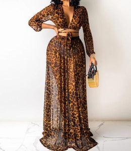 Women Leopard Print Sheer Sexy Two Piece Maxi Skirt Set