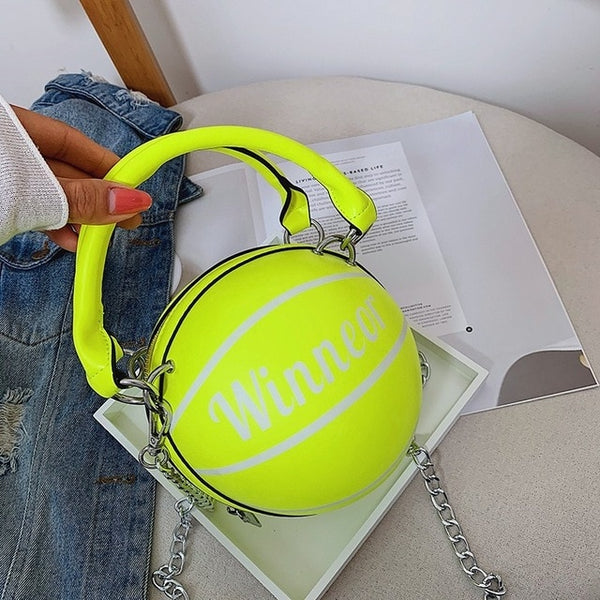 Women Fashion Ball Shape Neon Handbag Purse
