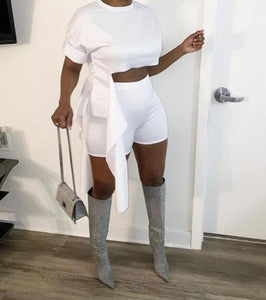 Women Fashion Two Piece Sexy Crop Top Short Set
