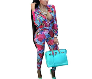 Women Fashion Floral Print Two Piece Pant Set