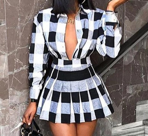 Women Sexy Fashion Black/White Plaid Two Piece Top Skirt Set