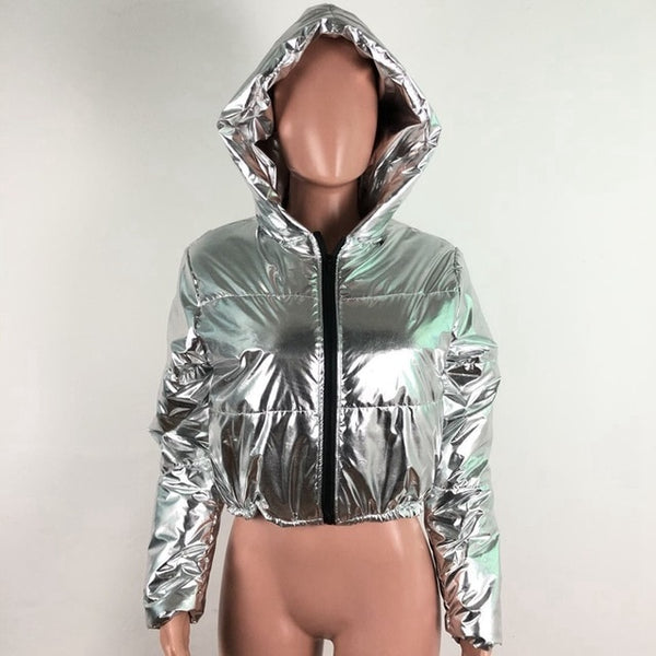 Women Fashion Silver PU Leather Hooded Cropped Puff Jacket
