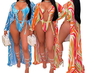 Women Color Striped Print Sexy Swimsuit Cover Up Set
