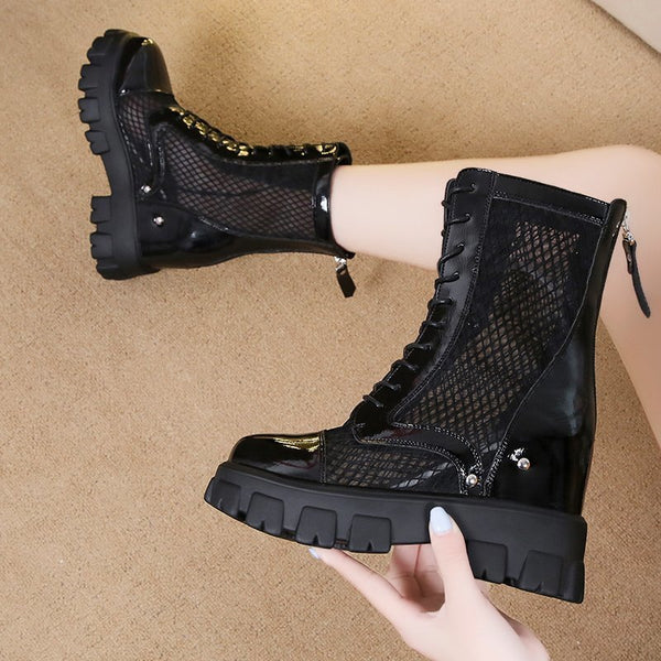 Women Platform Fashion Mesh Lace Up Ankle Boots