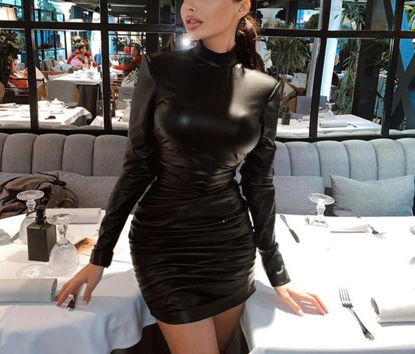 Women PU Leather Ruche Long Sleeve Fashion Mini Dress