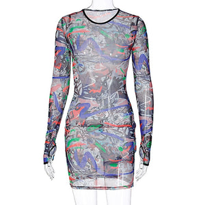 Women Sexy Sheer Printed Long Sleeve Mini Fashion Dress