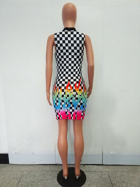 Women Fashion Plaid Rainbow Fire Print Sleeveless Dress
