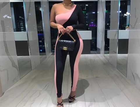 Women One Shoulder Black/Pink Two Piece Pant Set