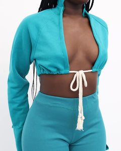 Women Fashion Tie Up Two Piece Crop Top Short Set