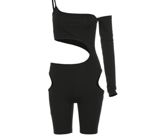 Women Black Sexy Cut Out One Sleeve Fashion Romper