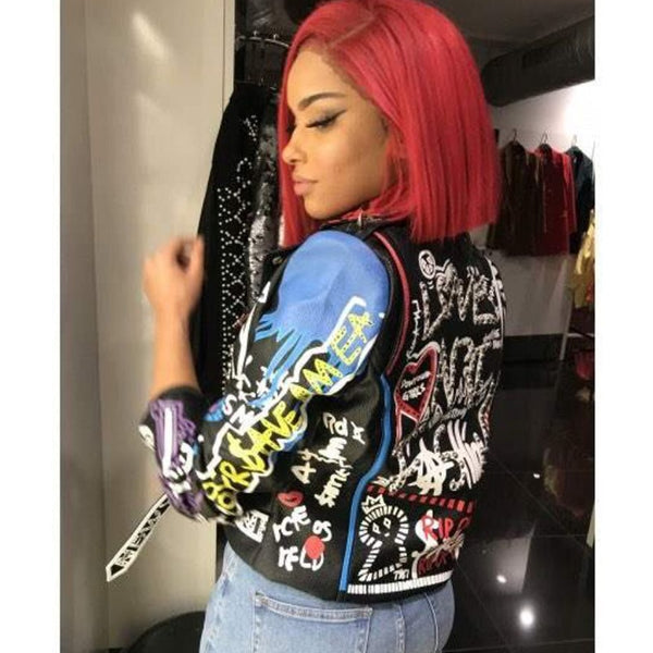 Women Fashion Colorful Graffiti Print Leather Jacket