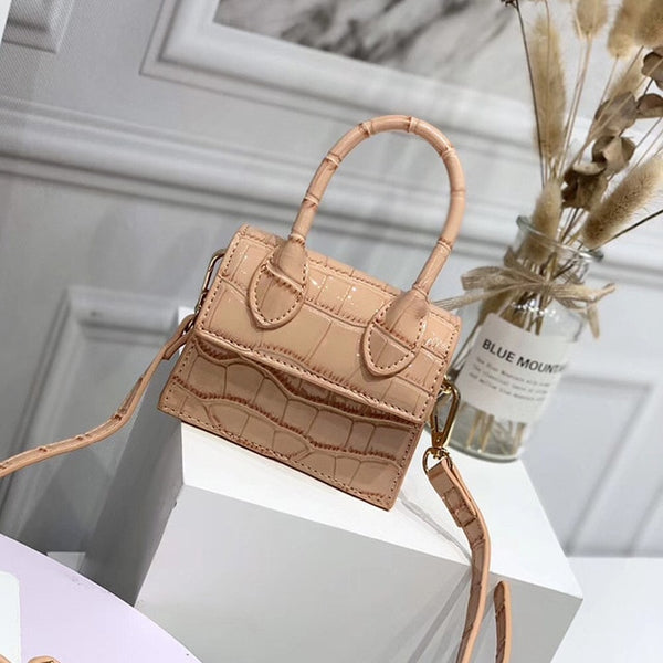 Women Fashion Mini PU Leather Square Handbag