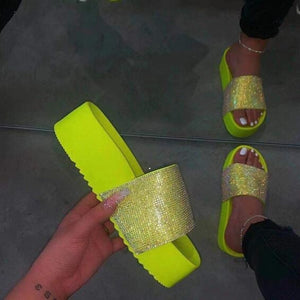 Women Casual Fashion Bling Candy-Color Platform Slide-On Sandals