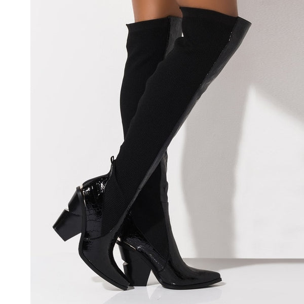 Women Fashion Black Over The Knee Slip On Boots