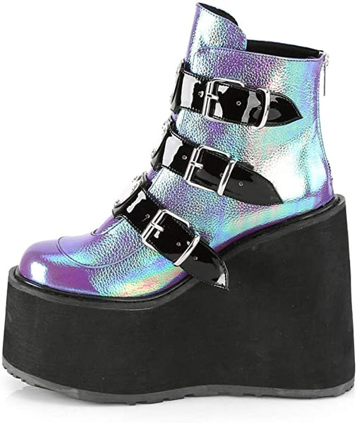Women Thick Platform Metallic Buckle Ankle Boots