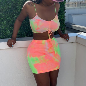 Women Sexy Tie Dye Two Piece Tank Crop Top Skirt Set