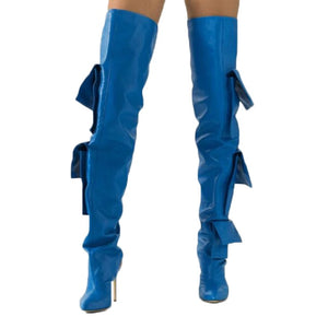 Women Fashion Blue Leather Pocket Design High Heel Boots