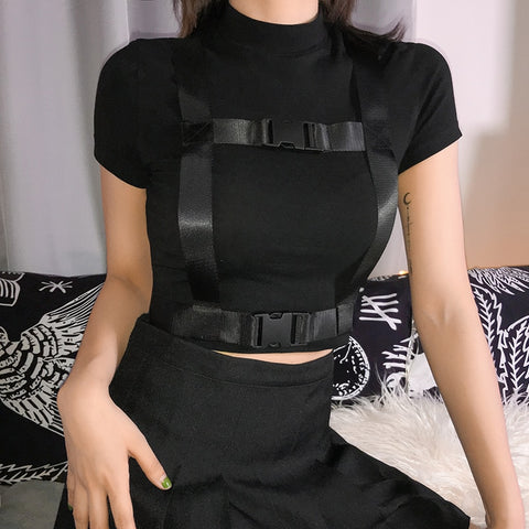 Women Black Buckle Fashion Short Sleeve Crop Top
