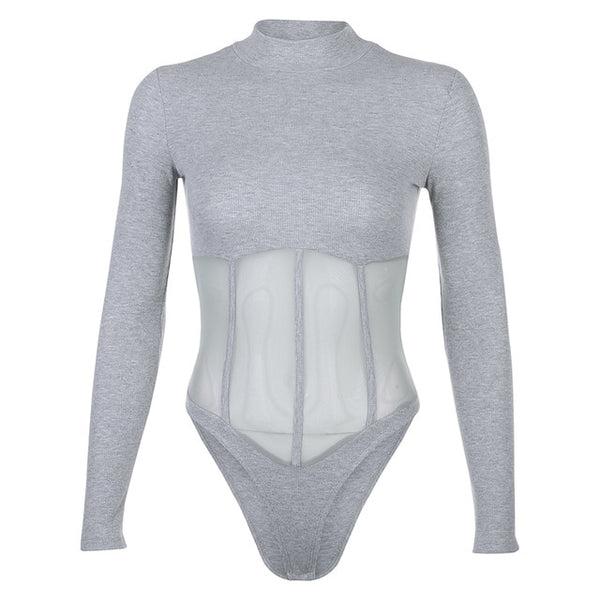 Women Long Sleeve Mesh Patchwork Fashion Bodysuit Top