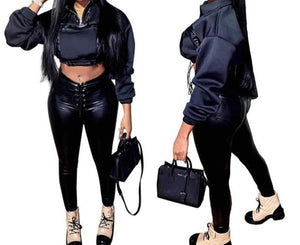 Women Faux Leather Fashion Black Two Piece Pant Set