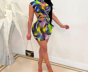Women Colorful Two Piece Sexy Lace Up Skirt Set