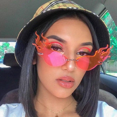 Fashion Flame Cat Eye Color Sunglasses