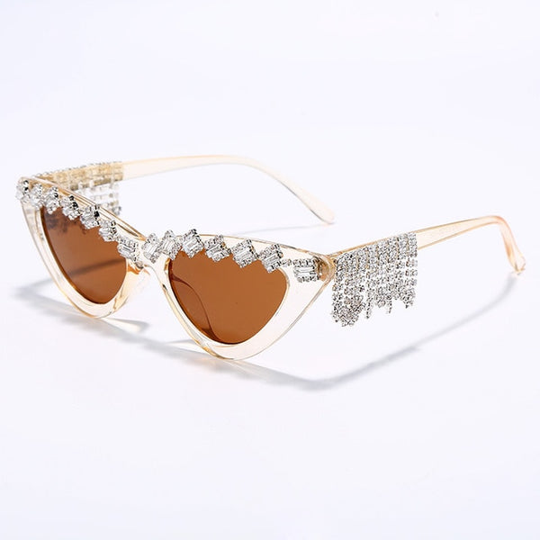 Women Fashion Rhinestone Tassel Sunglasses