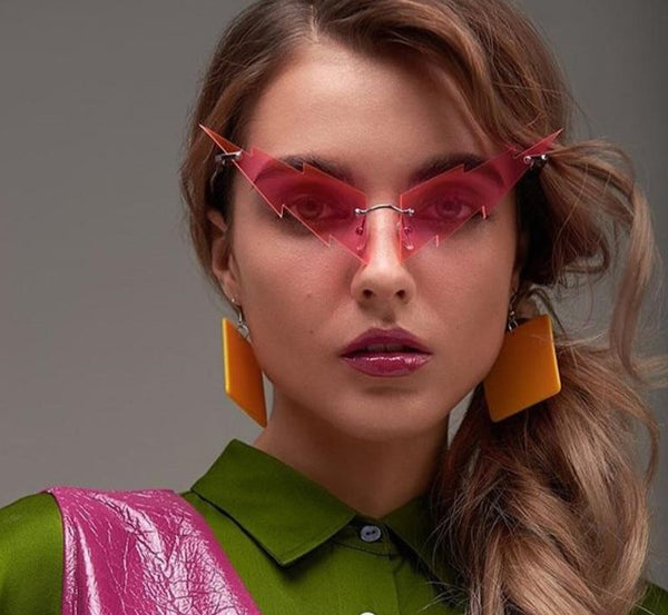 Women Fashion Color Retro Rimless Sunglasses