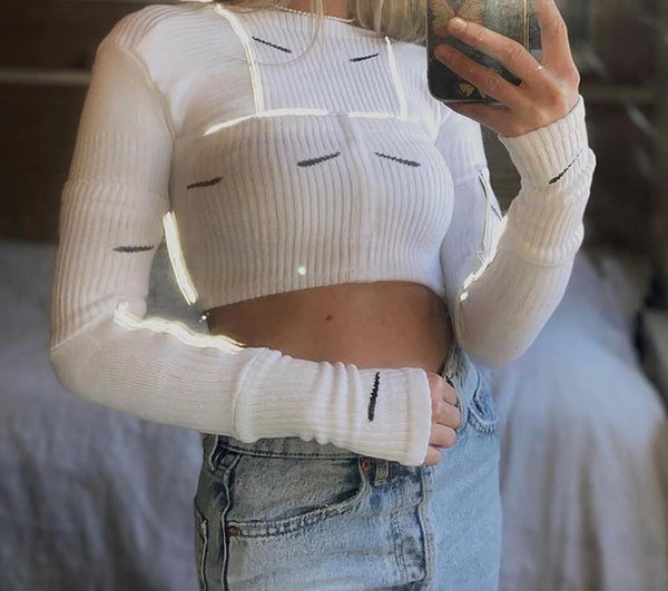 Women Reflective Long Sleeve Ribbed Crop Top