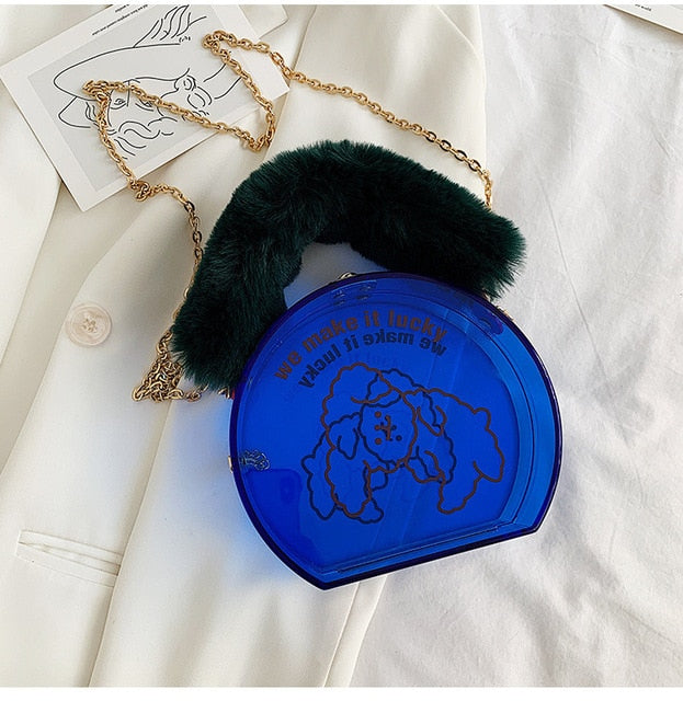 Women Acrylic Chain Faux Fur Fashion Purse