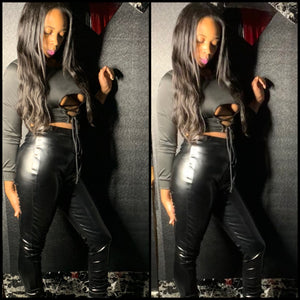 Women Sexy Black Two Piece Cut Out Crop Top PU Leather Pant Set