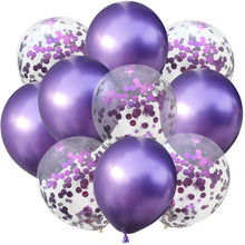 Load image into Gallery viewer, 10pcs/lot 12 inch 5PCS Metal Color +5PCS Confetti Latex Balloons Kids Baby Birthday Party Decoration Balloons Cartoon Hat Toy