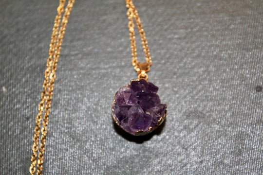 Amethyst Druzy Necklace // Gold Gemstone Necklace  // Amethyst Stone