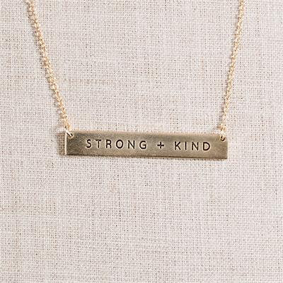 14kt gold / Inspirational Jewelry // Bar Necklace // Stamped Jewelry - Strong Necklace