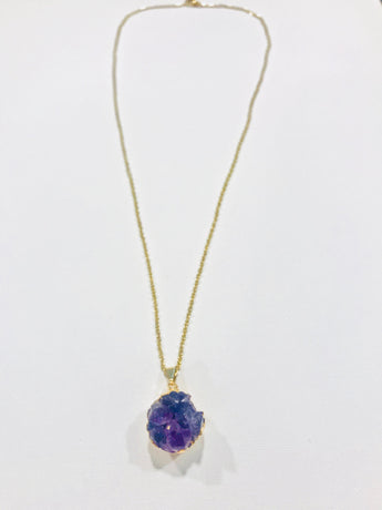 Amethyst Cluster Druzy Necklace