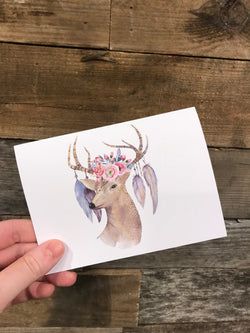 Boho Deer Greeting Card Blank