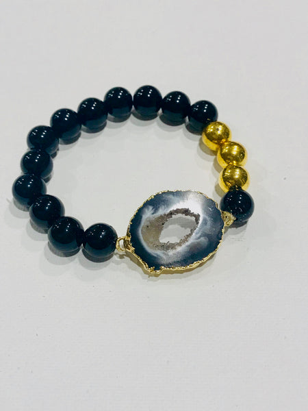 Druzy Geode Beaded Bracelet  /  Black Onyx // Stackable Bracelet