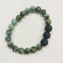 African Turquoise with Lava Stone Bracelet / Diffuser Bracelet / Diffuser Jewelry