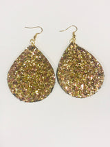 Gold Glitter Sparkle Teardrop Earrings