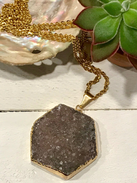 Amethyst Hexagon  Necklace // Gold Gemstone Necklace  // Amethyst Stone