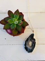 Agate Geode Druzy Necklace - Sterling Chain