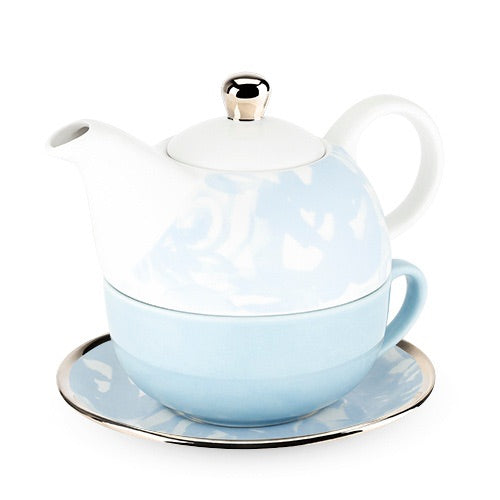 Addison Dusty Blue Floral Tea for One Set