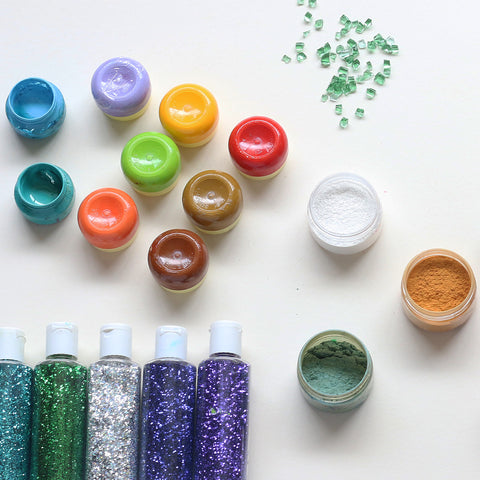 resin art pigments, glitter and mica powder